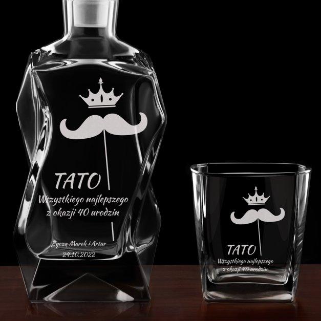 Zestaw karafka łamana z 4 szklankami grawer dla taty na 40 urodziny
