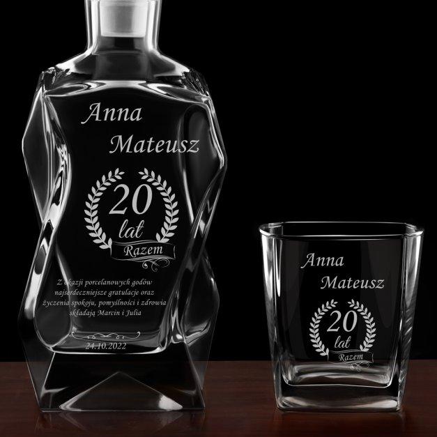 Zestaw karafka łamana z 4 szklankami grawer dla pary na 20 rocznicę