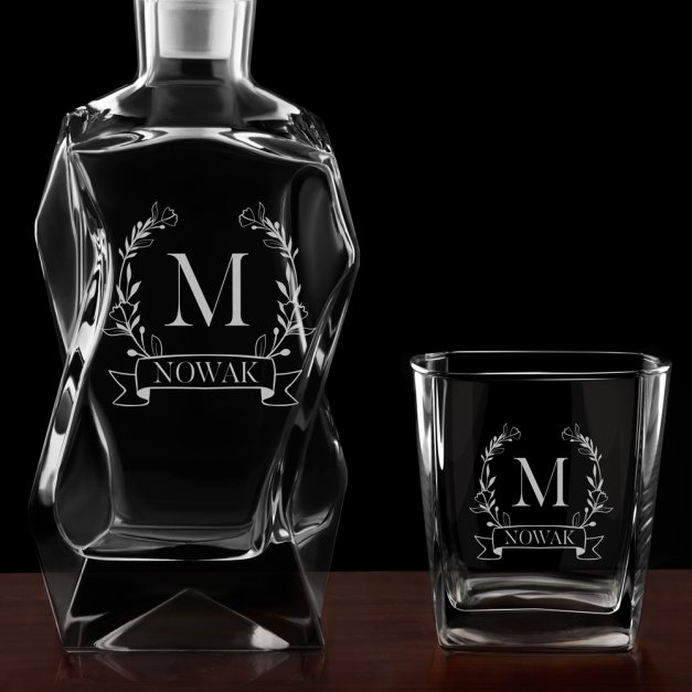 Zestaw karafka łamana z 4 szklankami grawer inicjał nazwisko dla niej niego pary na ślub rocznicę