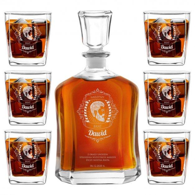 Karafka z 6 szklankami zestaw z grawerem dla brata na urodziny