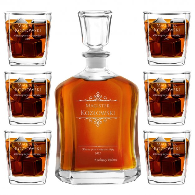 Karafka z 6 szklankami zestaw z grawerem dla magistra