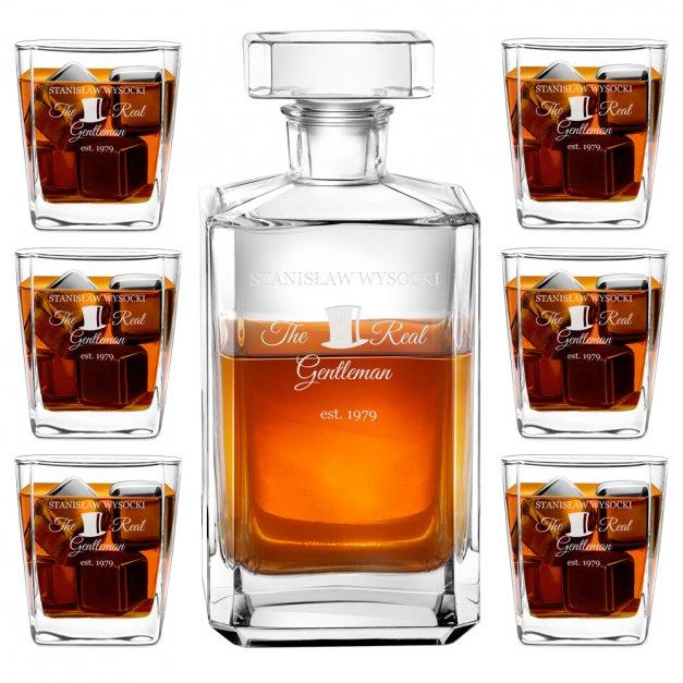 Karafka burbon zestaw z 6 szklankami grawer dla gentlemana na urodziny
