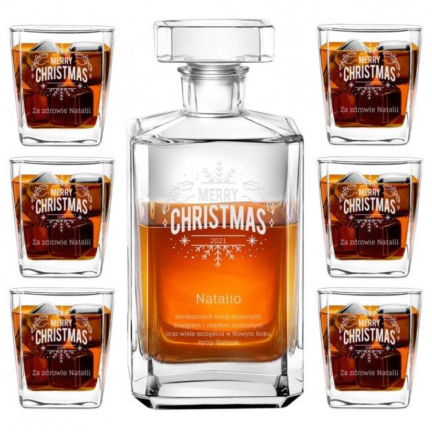 Zestaw Karafka Burbon z 6 Szklankami Grawer Śnieżynka na Święta