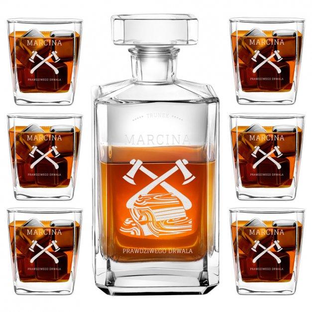 Zestaw Karafka Burbon z 6 Szklankami Grawer Dla Drwala