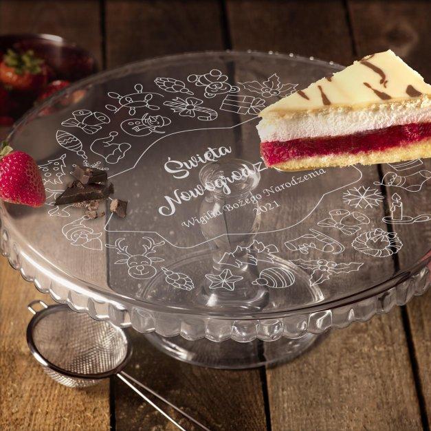Grawerowana Patera Szklana do Ciasta Na Święta Wigilia