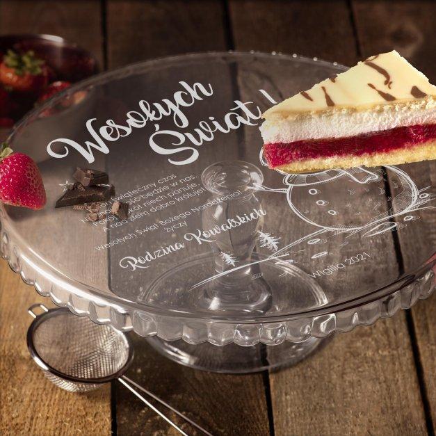 Grawerowana Patera Szklana do Ciasta Na Święta Bałwan