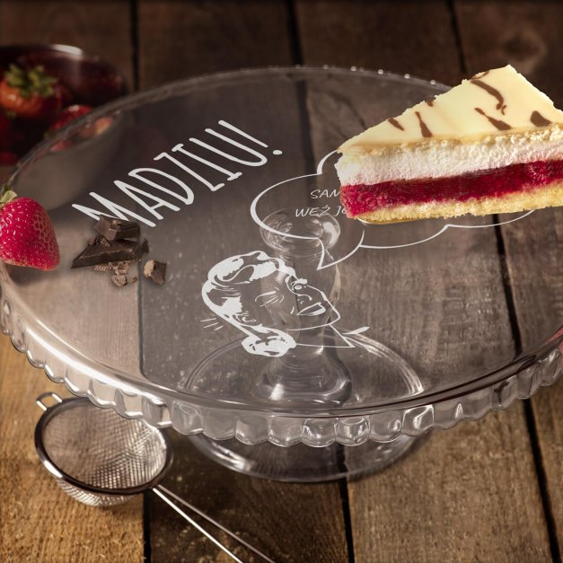 Grawerowana Patera Szklana do Ciasta Dla Niej