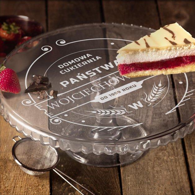 Grawerowana Patera Szklana do Ciasta Domowa Cukiernia