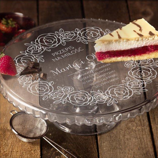 Grawerowana Patera Szklana do Ciasta Przepis na Miłość