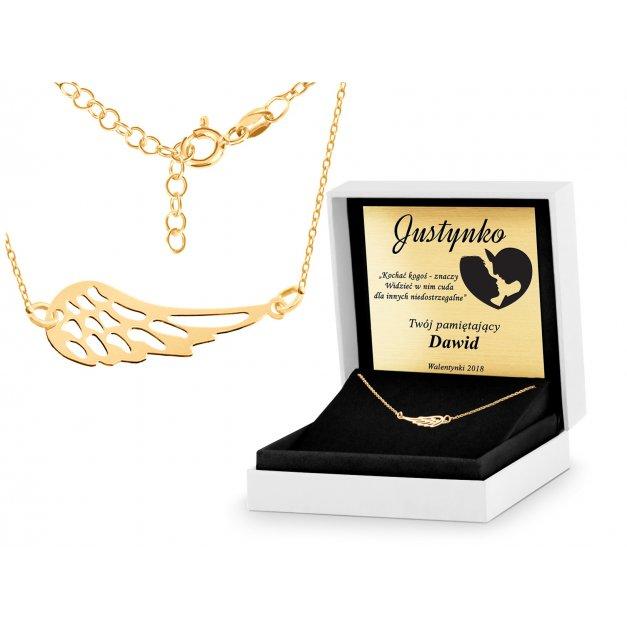 Srebrny Naszyjnik Złocony 925 Celebrytka Ażurowe Skrzydło Grawer