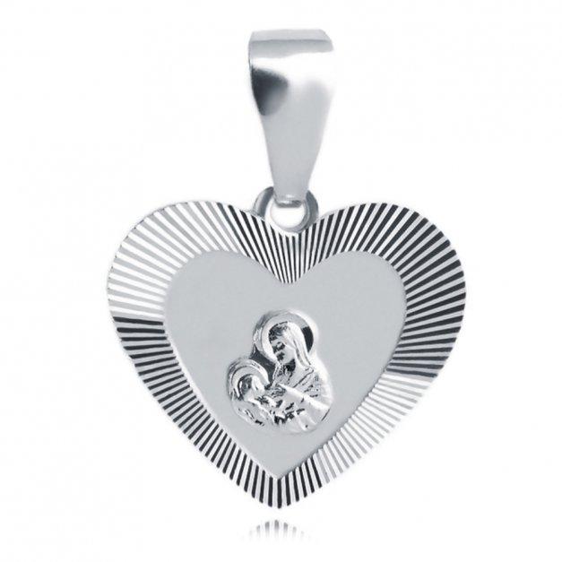 Srebrny Medalik 925 Matka Boska Serce Grawer
