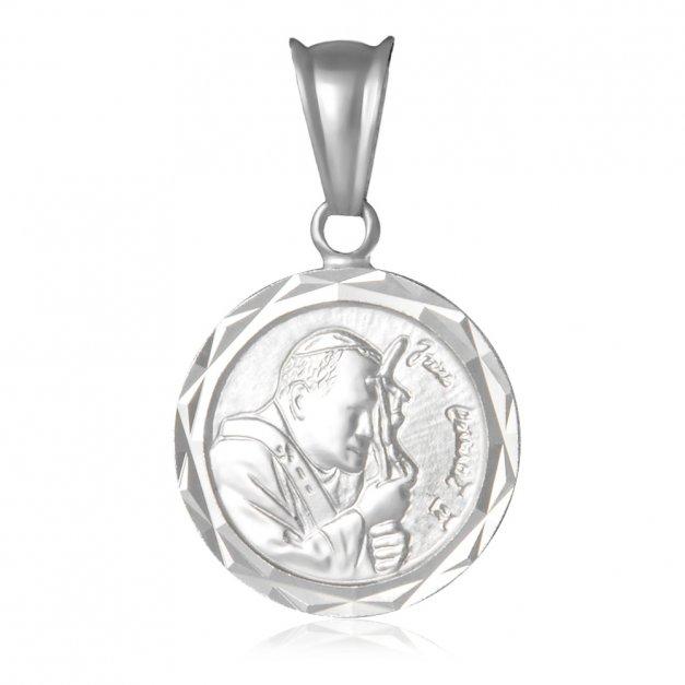 Srebrny Medalik 925 Jan Paweł II Grawer