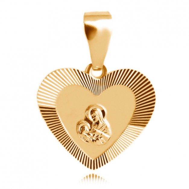 Srebrny Medalik 925 Złocony Matka Boska w Sercu Grawer