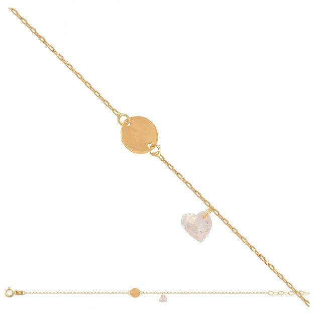 Złota bransoletka 585 łańcuszkowa serduszka