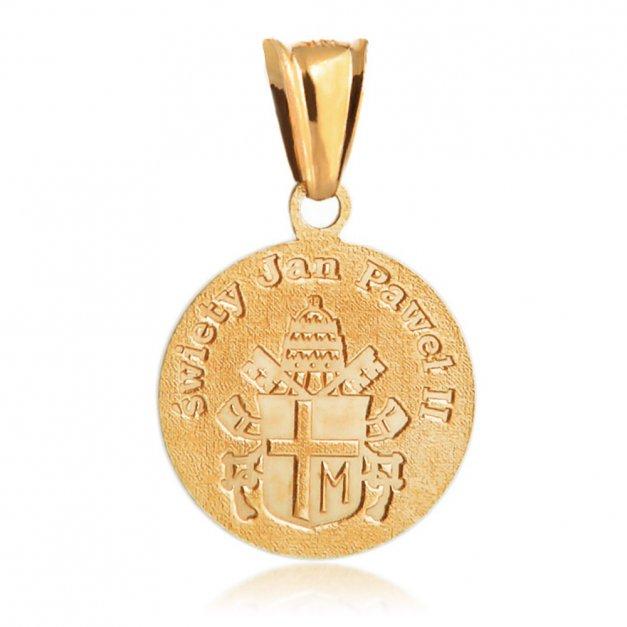 Srebrny Medalik 925 Złocony Jan Paweł II Grawer
