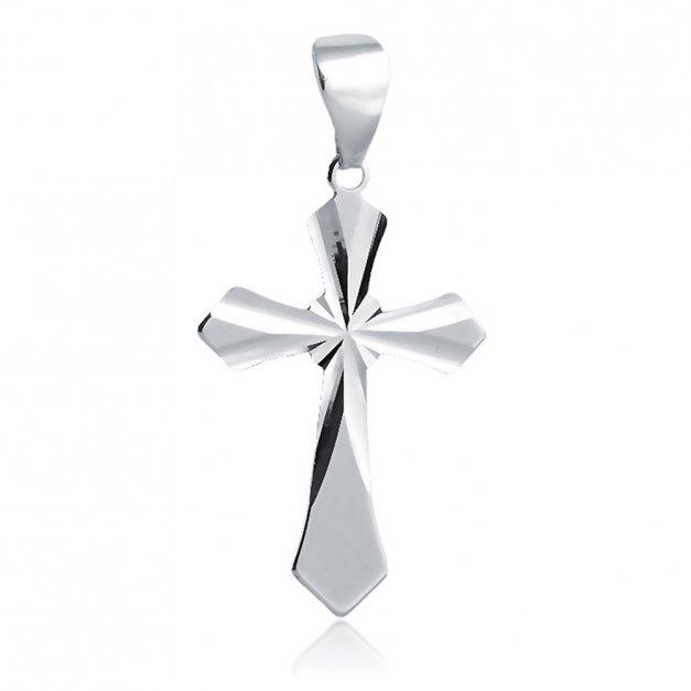 Srebrny Krzyżyk 925 Trójlistny z Łańcuszkiem Grawer