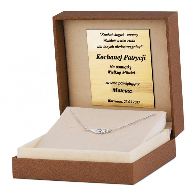 Srebrny Naszyjnik 925 Celebrytka Skrzydło Grawer