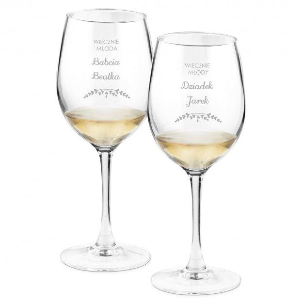 Kieliszki szklane do wina zestaw x2 grawer wiecznie młoda wiecznie młody dla dziadków