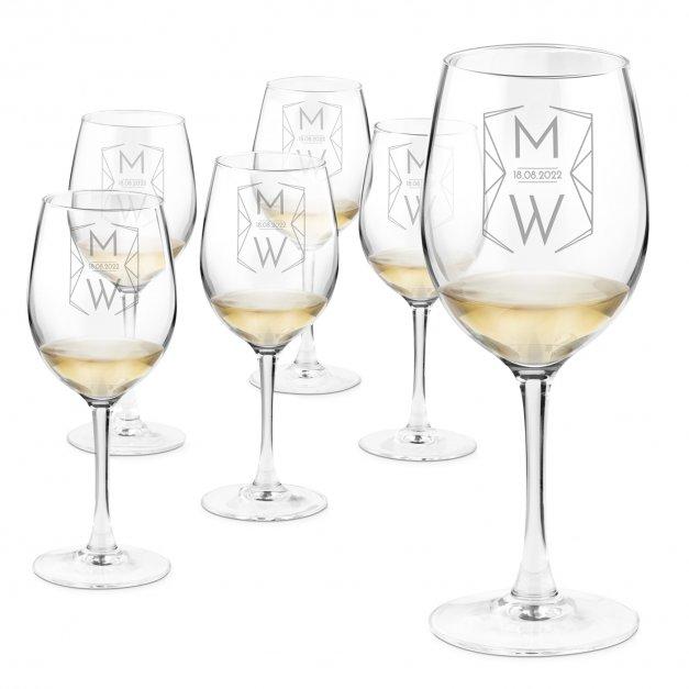 Kieliszki szklane do wina zestaw x6 grawer z dedykacją dla pary na ślub rocznicę
