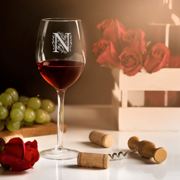 Kieliszki szklane do wina zestaw x6 grawer inicjał