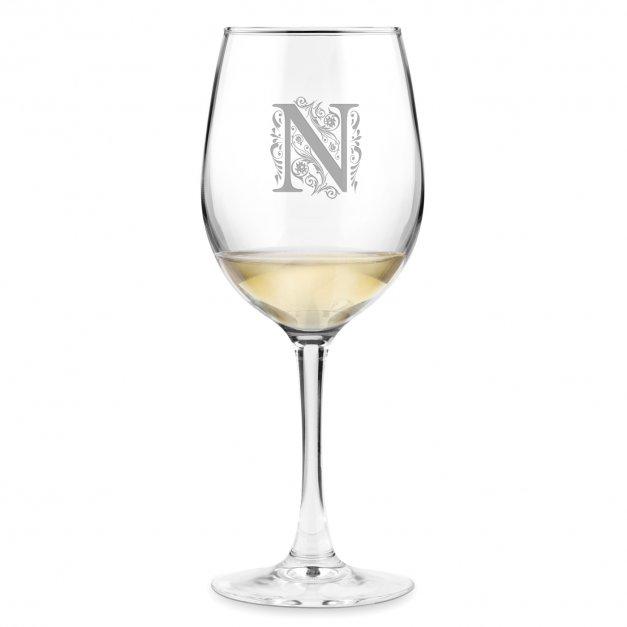 Kieliszek szklany do wina grawer inicjał