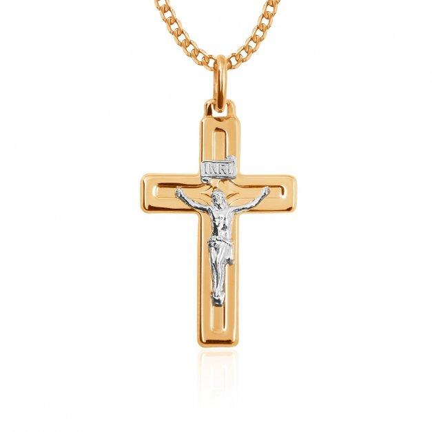 Złoty Komplet 333 Łańcuszek z Krzyżykiem GRAWER ZZ08