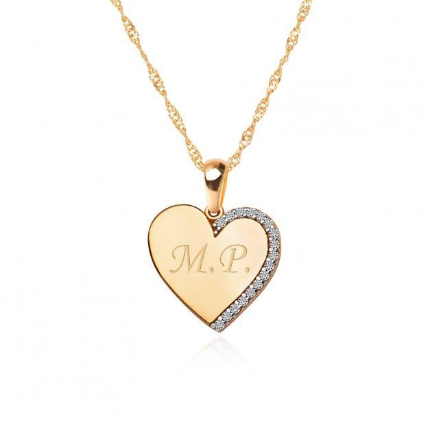 Złoty Łańcuszek z Zawieszką Serce 333 GRAWER ZZ03