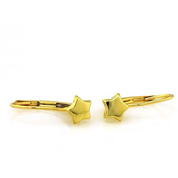 Złote kolczyki 585 angielskie zapięcie gwiazda