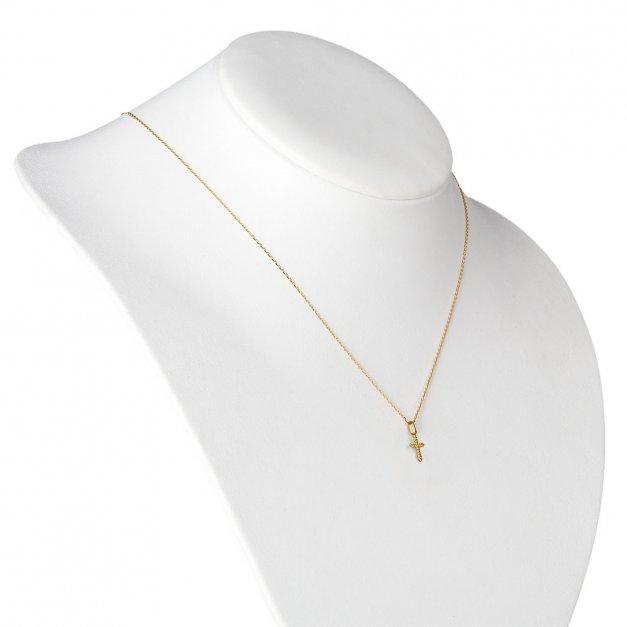 Złoty Komplet 585 Łańcuszek z Krzyżykiem ZZ154