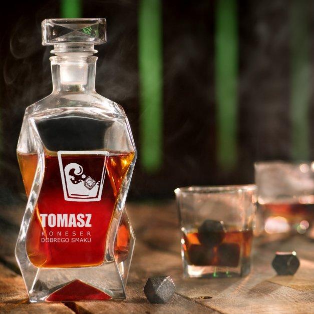 Zestaw karafka łamana z 4 szklankami grawer dla miłośnika whisky