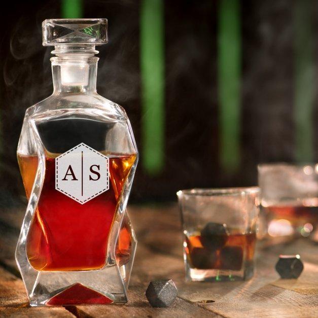 Karafka łamana zestaw z 6 szklankami grawer inicjały dla niej niego pary