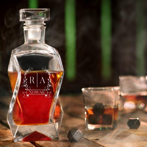 Karafka łamana zestaw z 6 szklankami grawer inicjały nazwisko dla pary na ślub rocznicę