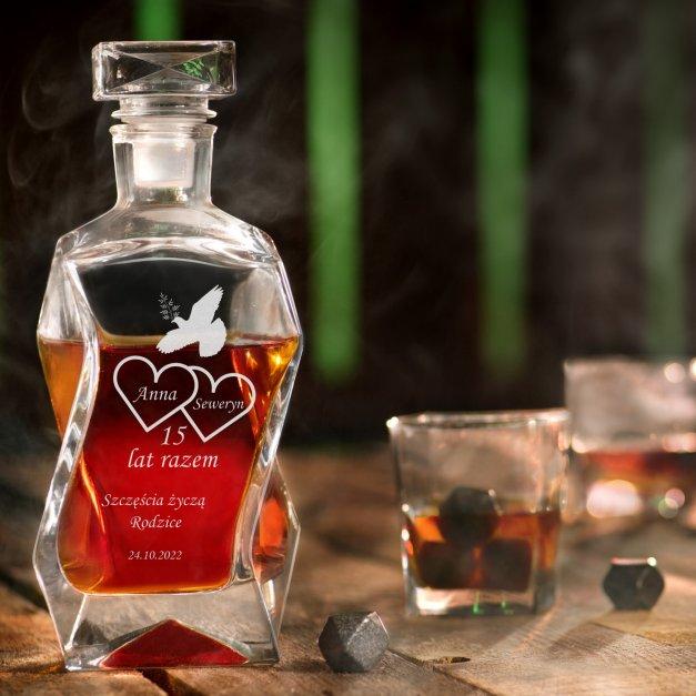 Karafka łamana zestaw z 6 szklankami grawer dla pary na 15 rocznicę