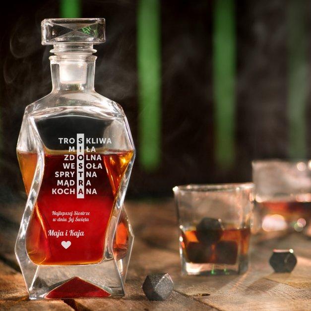 Karafka łamana zestaw z 6 szklankami grawer dla siostry
