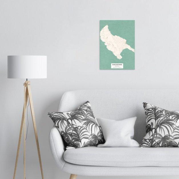 Plakat metalowy Mapa Vintage Zakintos  M