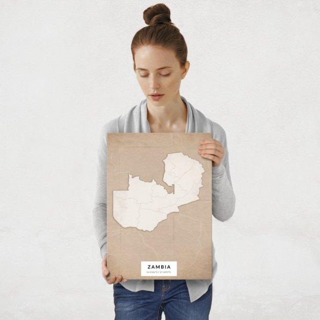 Plakat metalowy Mapa Vintage Zambia M