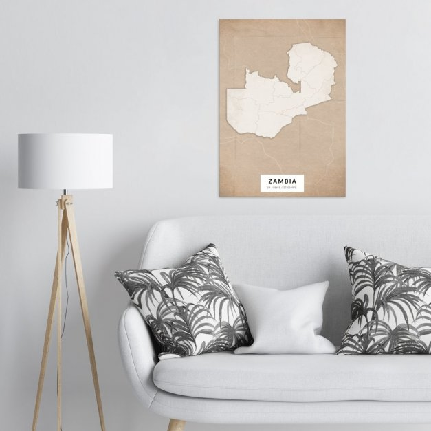 Plakat metalowy Mapa Vintage Zambia L