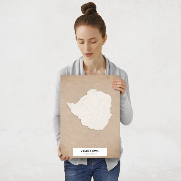 Plakat metalowy Mapa Vintage Zimbabwe M