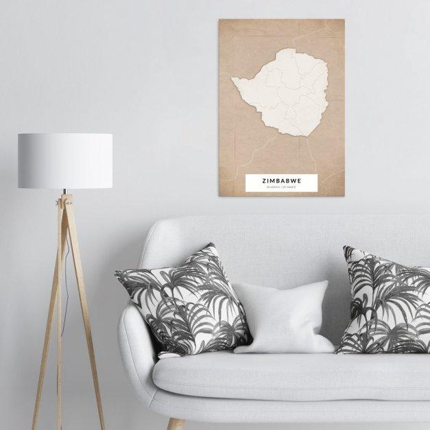 Plakat metalowy Mapa Vintage Zimbabwe L