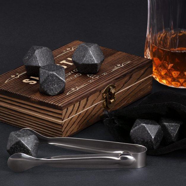 Kamienie do whisky kostki w drewnianym opakowaniu grawer