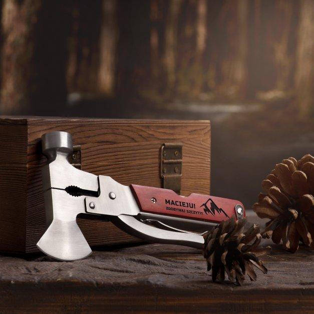 Narzędzie wielofunkcyjne multitool z grawerem prezent dla podróżnika miłośnika gór