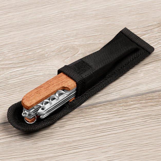 Klasyczny scyzoryk w drewnianej oprawie z grawerem wieczny łowca dla myśliwego