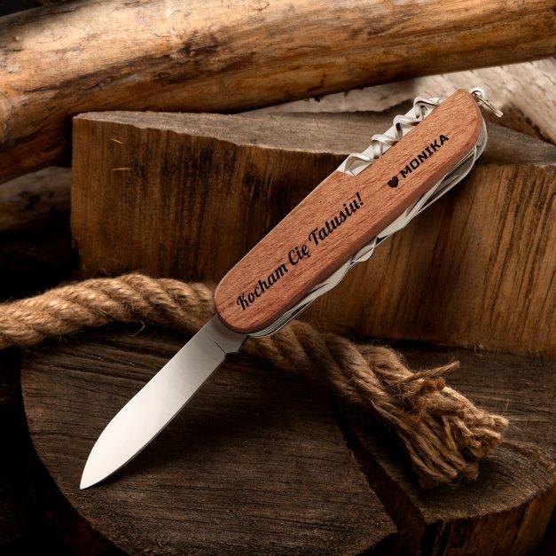 Klasyczny scyzoryk w drewnianej oprawie z grawerem dla taty