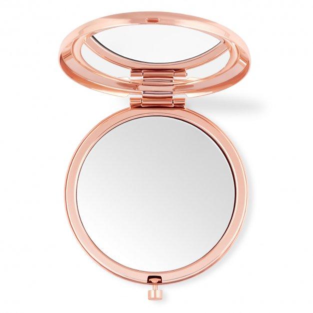 Lusterko okrągłe różowe z grawerem dla kosmetyczki