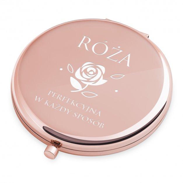 Lusterko okrągłe różowe z grawerem róża dla niej