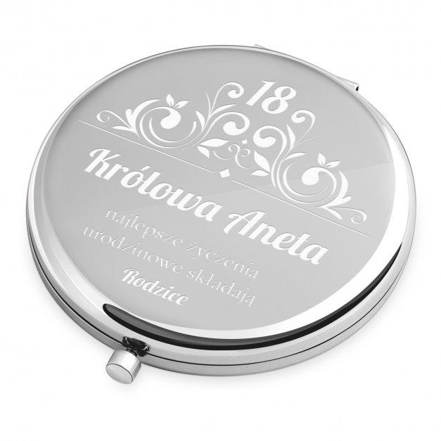 Lusterko okrągłe srebrne z grawerem dla niej na 18 urodziny