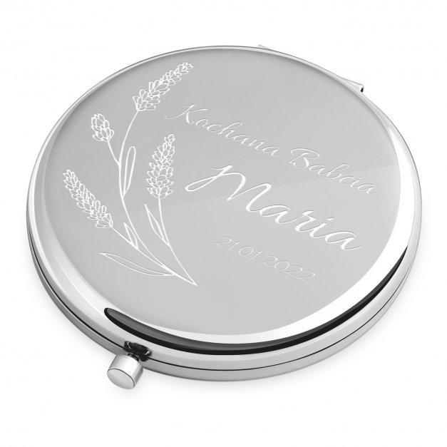 Lusterko okrągłe srebrne z grawerem dla babci