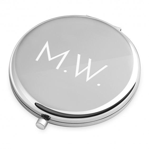Lusterko okrągłe srebrne z wygrawerowanymi inicjałami dla niej