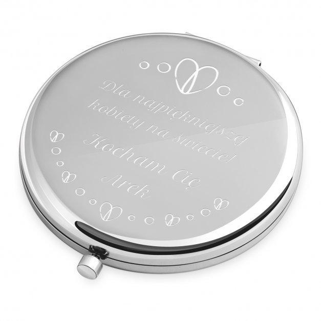 Lusterko okrągłe srebrne z grawerem dla niej na walentynki Dzień Kobiet
