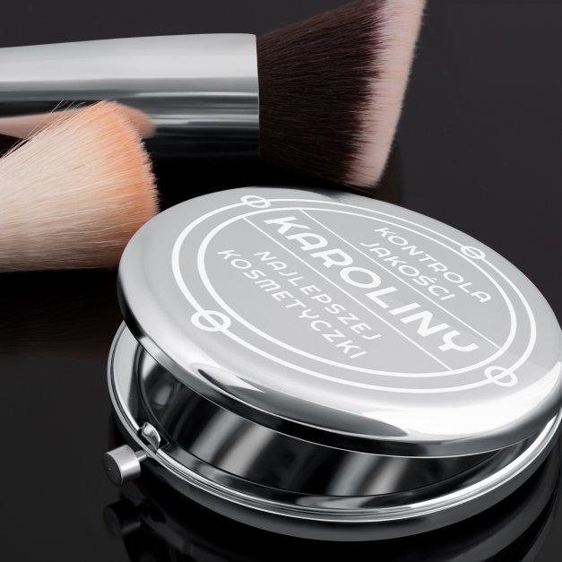 Lusterko okrągłe srebrne z grawerem dla kosmetyczki
